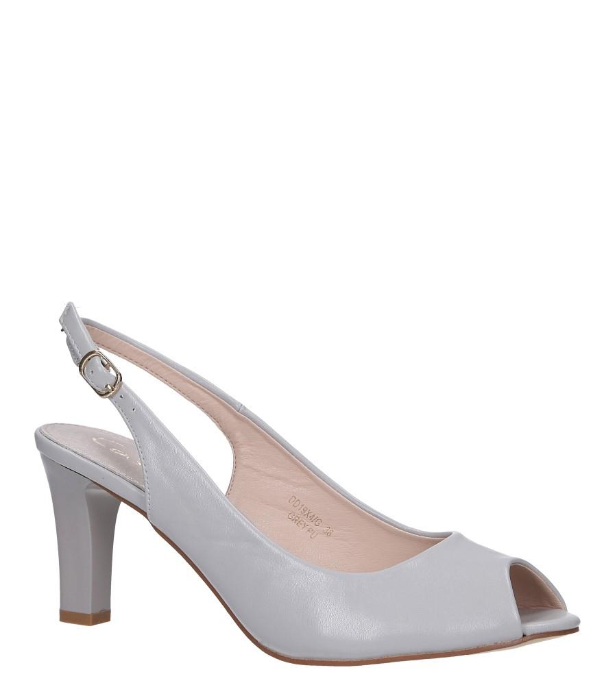 Szare sandały z wkładką skórzaną na słupku Casu DD19X4/G