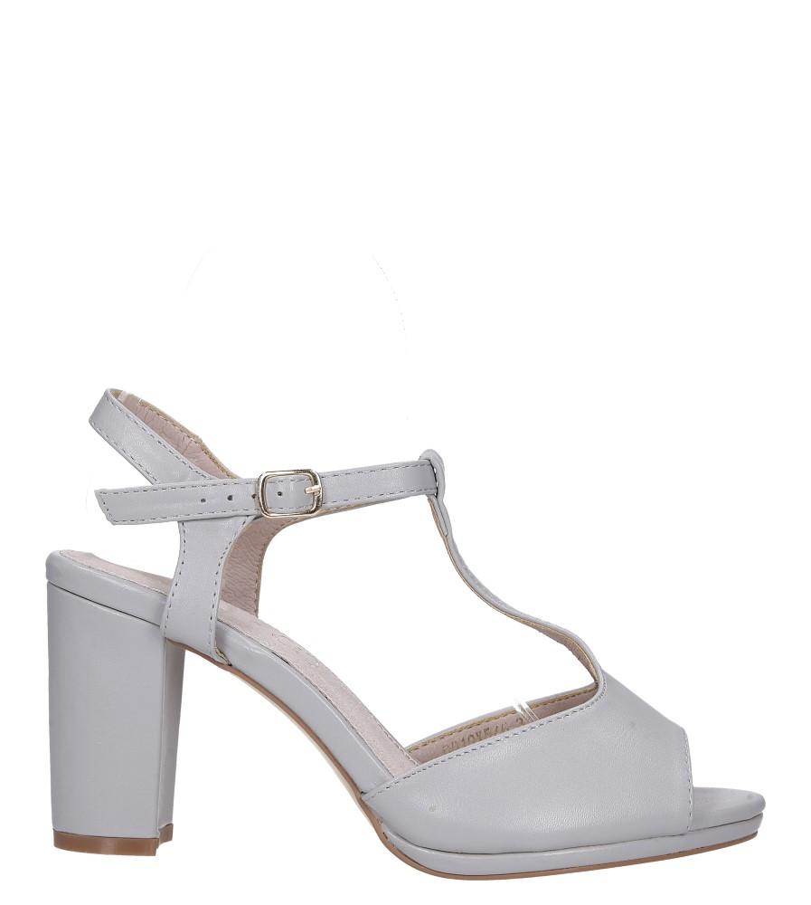 Szare sandały ze skórzaną wkładką na słupku z paskiem przez środek Casu DD19X5/G wysokosc_platformy 1 cm