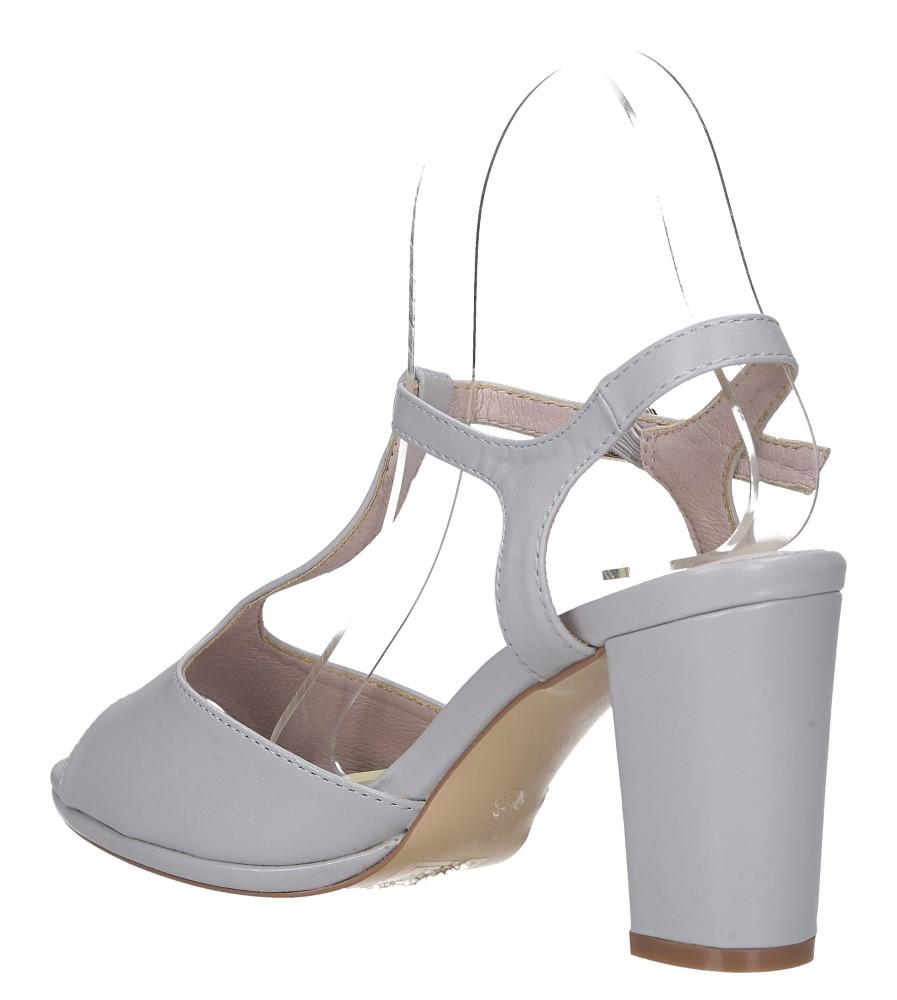Szare sandały ze skórzaną wkładką na słupku z paskiem przez środek Casu DD19X5/G wys_calkowita_buta 12.5 cm