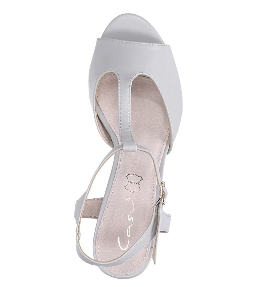 Szare sandały ze skórzaną wkładką na słupku z paskiem przez środek Casu DD19X5/G wierzch skóra ekologiczna