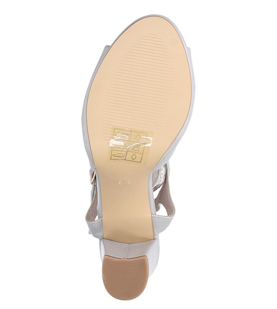 Szare sandały ze skórzaną wkładką na słupku z paskiem przez środek Casu DD19X5/G wnetrze skóra ekologiczna