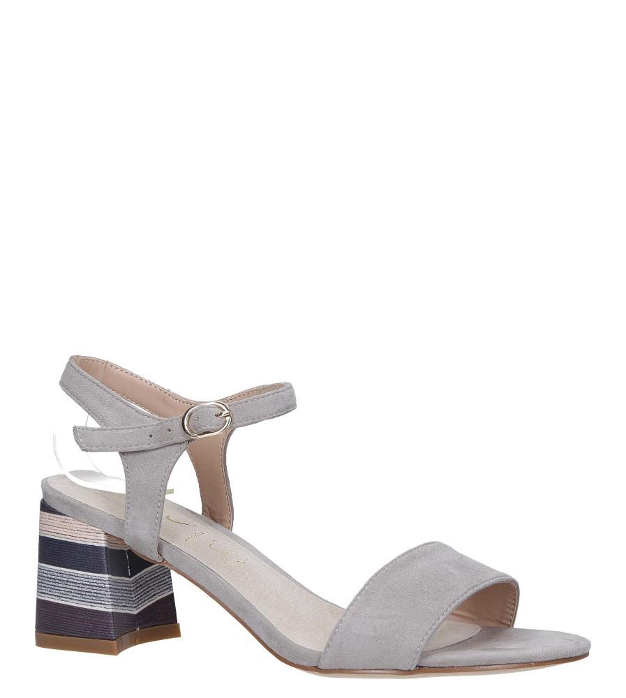 Szare sandały na obcasie szerokim ozdobnym ze skórzaną wkładką Casu N19X2/G