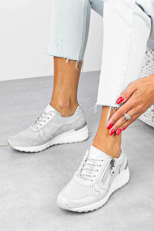 Szare sneakersy Filippo buty sportowe skórzane ażurowe na koturnie sznurowane z ozdobnym suwakiem DP1423/20SI