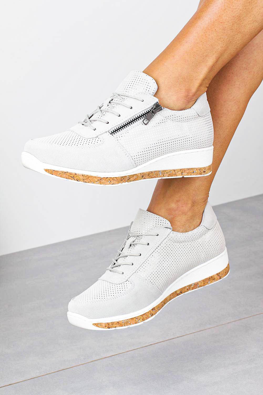 Szare sneakersy Filippo buty sportowe skórzane sznurowane z ozdobnym suwakiem DP1252/20GR szary