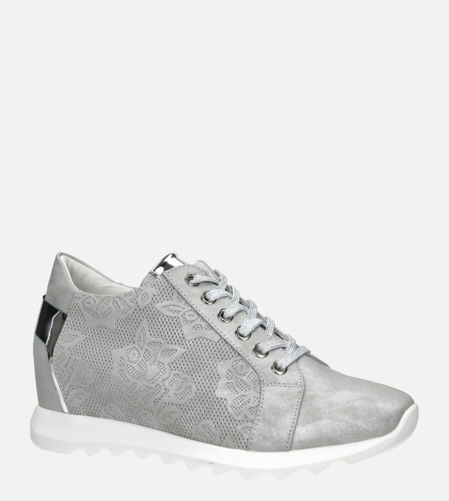 Szare sneakersy Jezzi na ukrytym koturnie sznurowane ASA170-1 szary