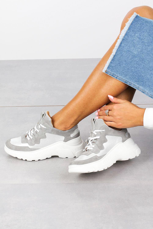Szare sneakersy Kati buty sportowe sznurowane 7037 szary