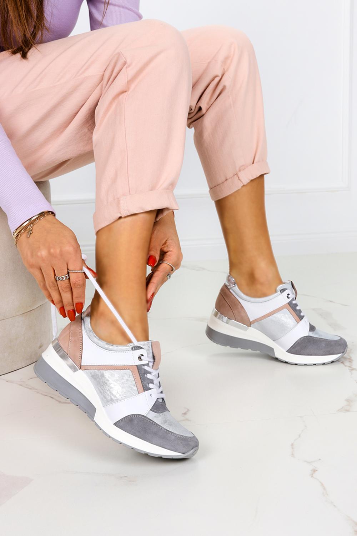 Szare sneakersy Kati buty sportowe sznurowane 7049 szary