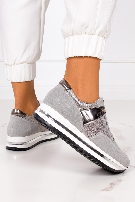 Szare sneakersy Kati buty sportowe sznurowane polska skóra 7099 szary