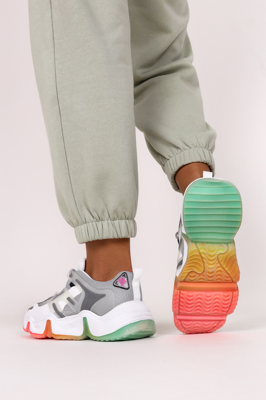 Szare sneakersy na platformie buty sportowe sznurowane Casu 21F3/G szary