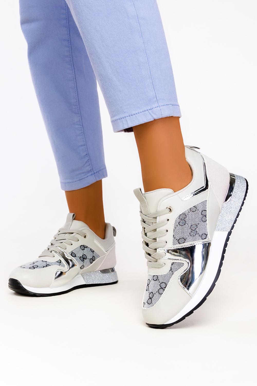 Szare sneakersy na platformie buty sportowe sznurowane Casu 8211-3 szary