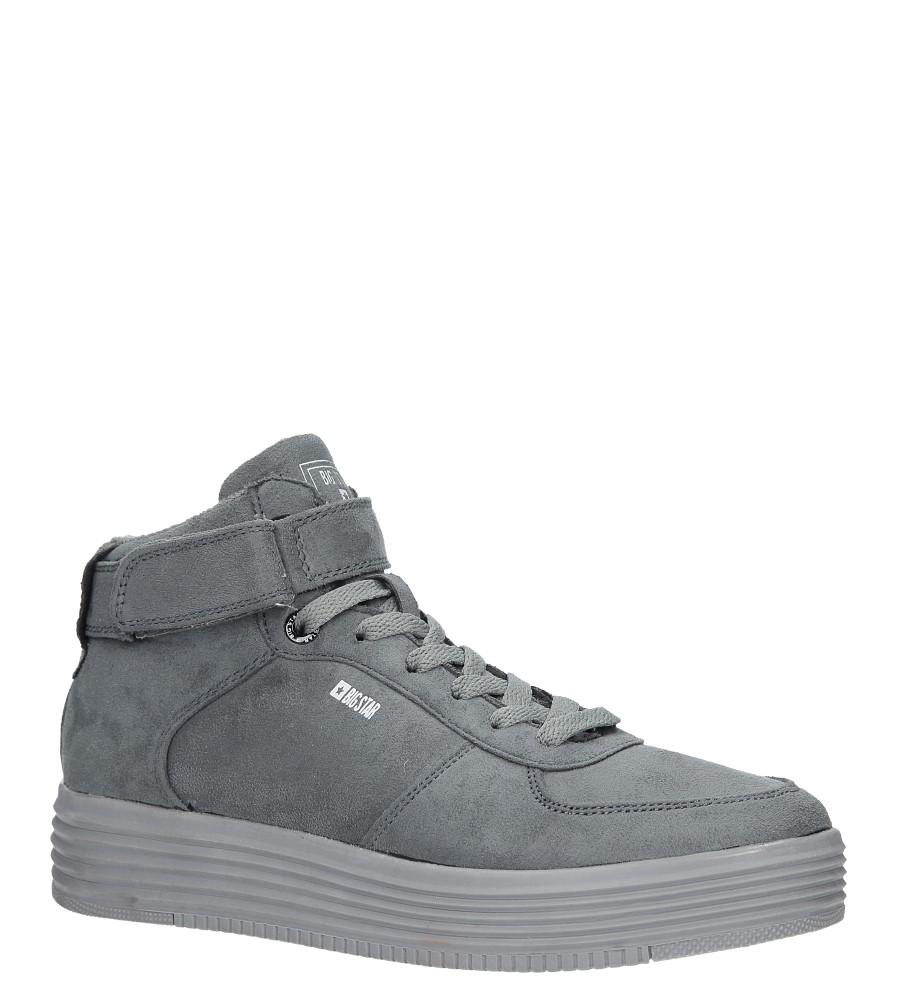 Szare sneakersy trampki sznurowane Big Star BB274645 szary