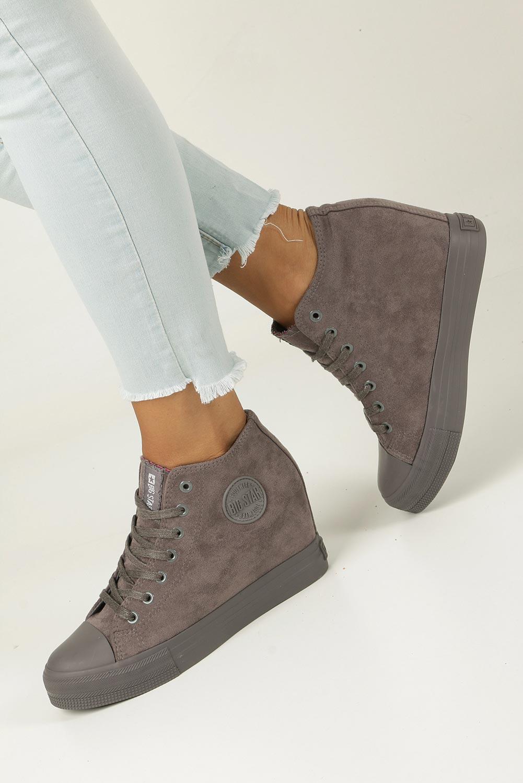 Szare sneakersy trampki sznurowane na koturnie Big Star BB274091