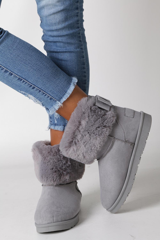 Szare śniegowce emu z futerkiem Casu B814-5 wys_calkowita_buta 18 cm