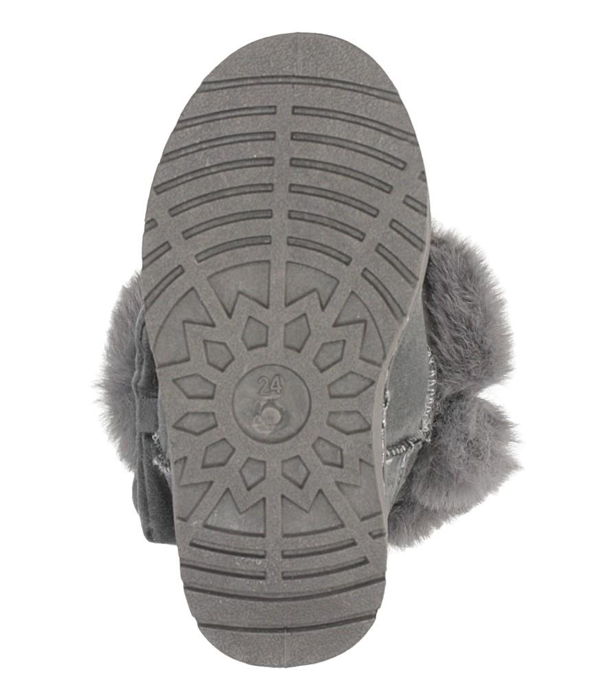 Szare śniegowce z futerkiem i kokardą Casu 633 wysokosc_platformy 2 cm