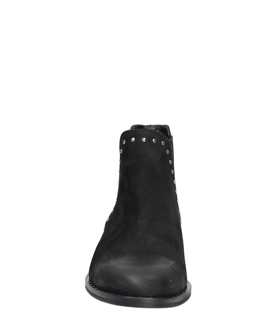 Sztyblety skórzane z ozdobą Karino 2254 kolor czarny