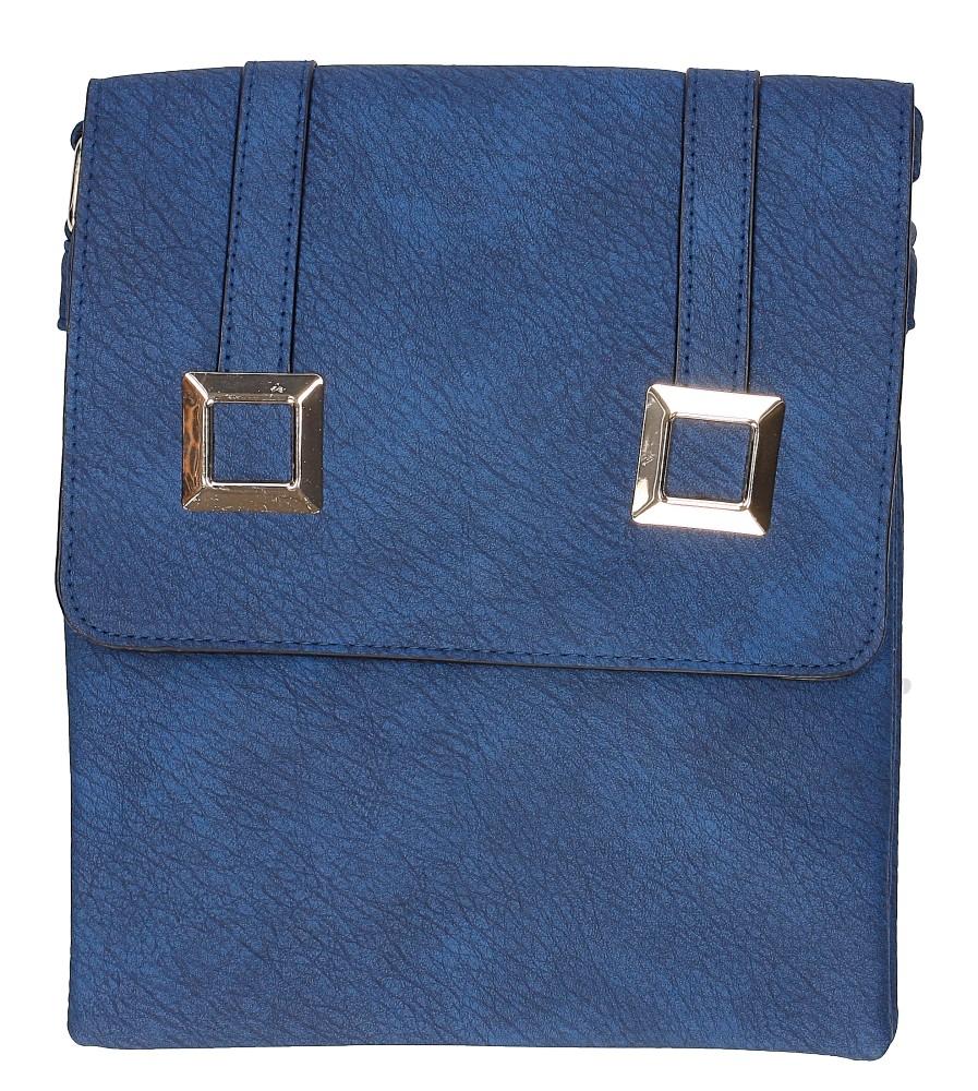 Damskie Torebka listonoszka z metalową ozdobą Casu B507 niebieski;;