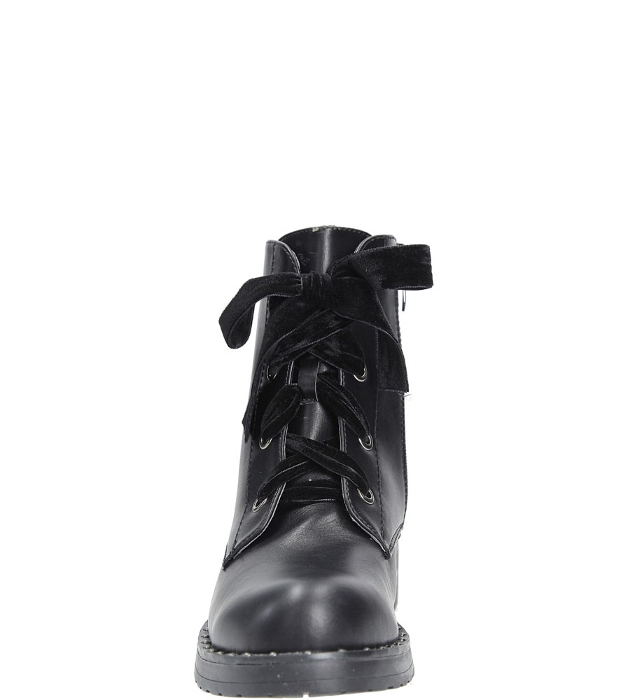 Trzewiki wiązane wstążką Casu W58-1 kolor czarny