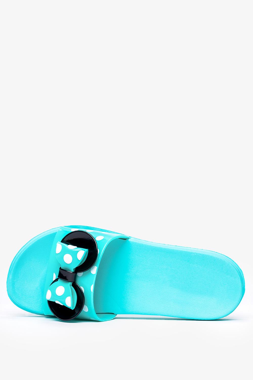 Turkusowe klapki Casu z kokardką w białe groszki 7001C-1