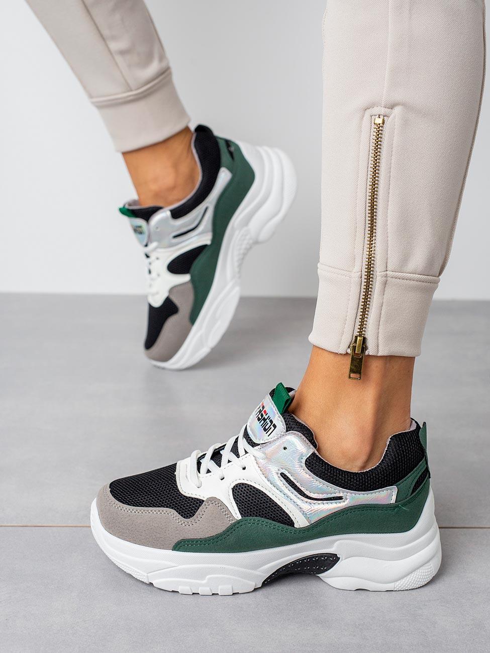 Wielokolorowe buty sportowe sneakersy sznurowane Casu 20H3/G szary