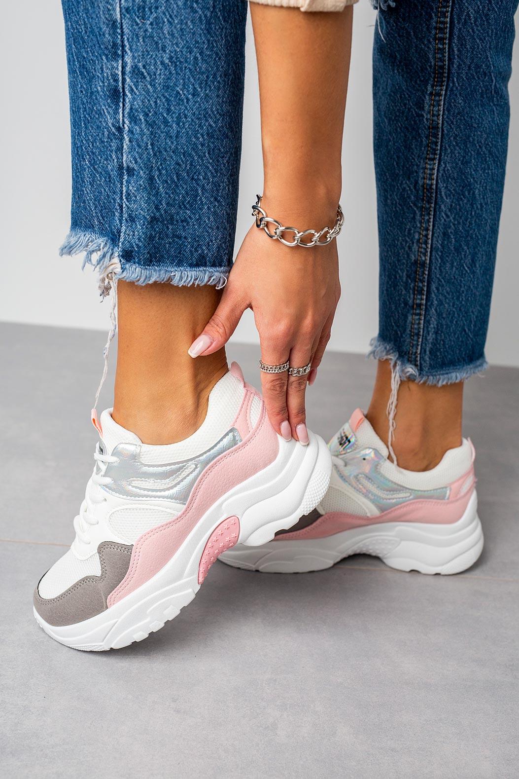 Wielokolorowe buty sportowe sneakersy sznurowane Casu 20H3/P różowy