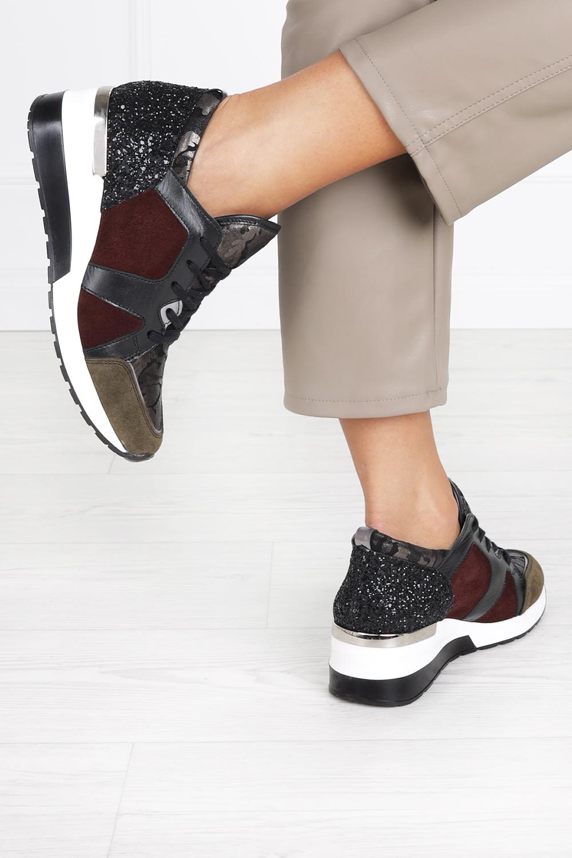 Wielokolorowe sneakersy Kati buty sportowe sznurowane 7023 bordowy