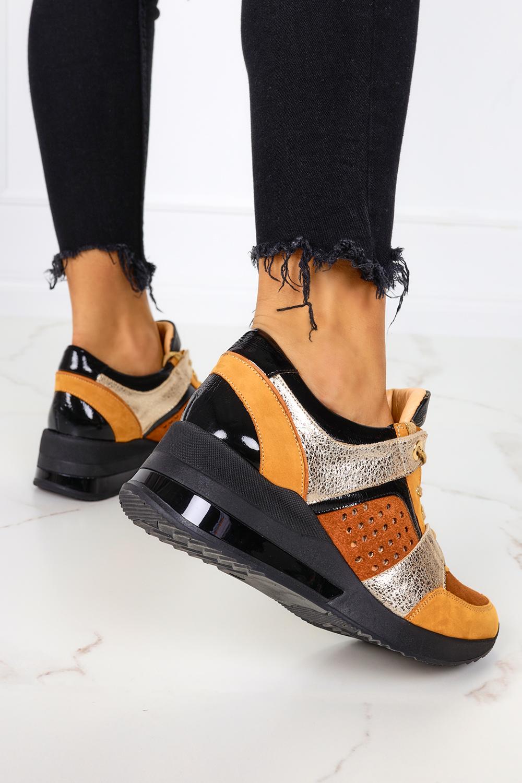 Wielokolorowe sneakersy na koturnie buty sportowe sznurowane polska skóra Casu 7862/1803/1701/1811/272/1907 pomarańczowy