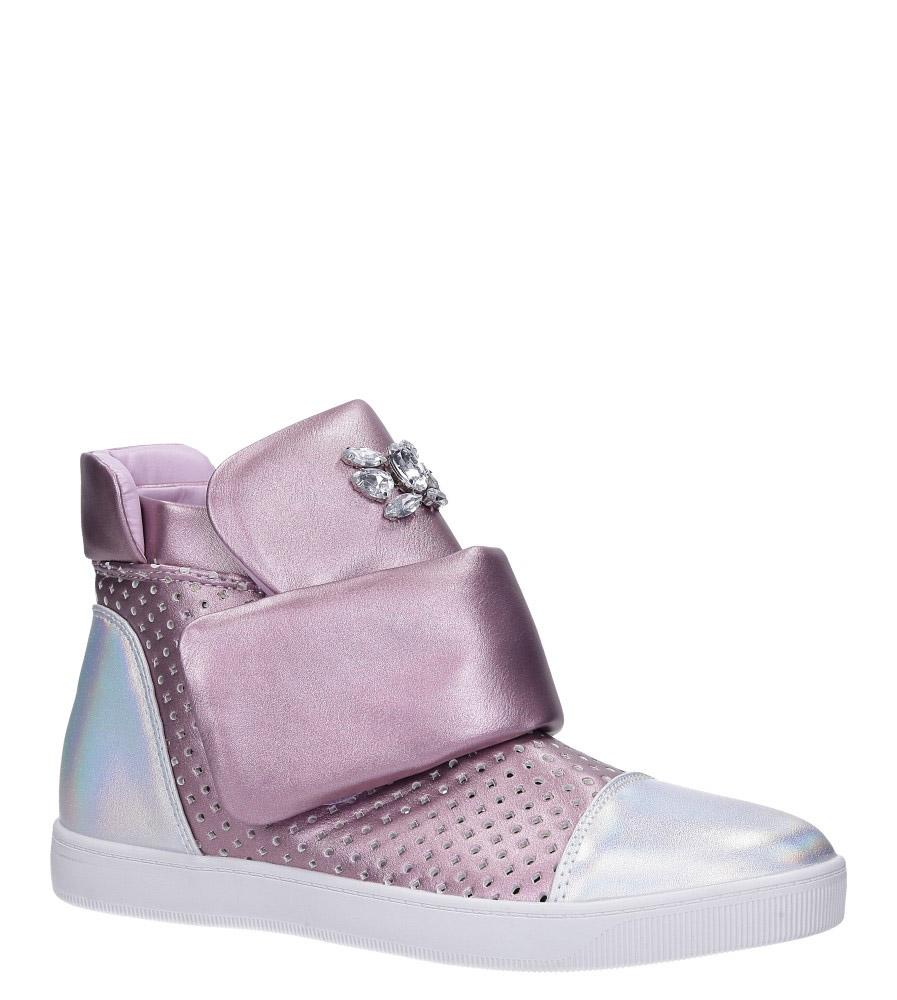 Wrzosowe botki sneakersy błyszczące na rzep z kryształkami Casu 7-X7962B