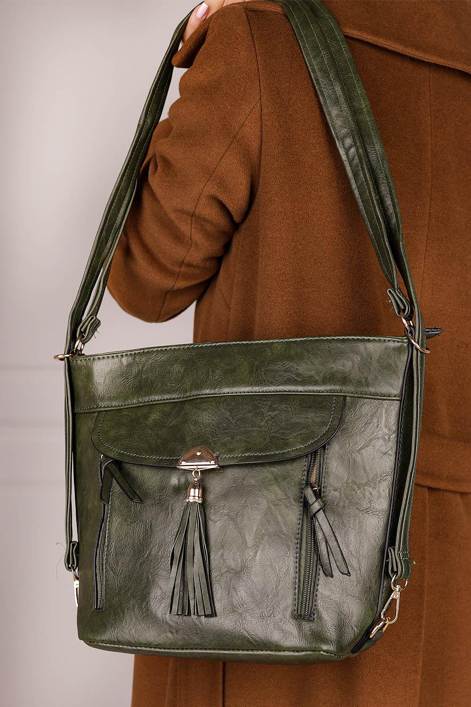 Zielona torebka Casu z ozdobnymi suwakami AK-100