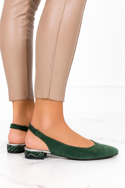 Zielone baleriny Casu na ozdobnym niskim obcasie z odkrytą piętą polska skóra 4016 ciemny zielony