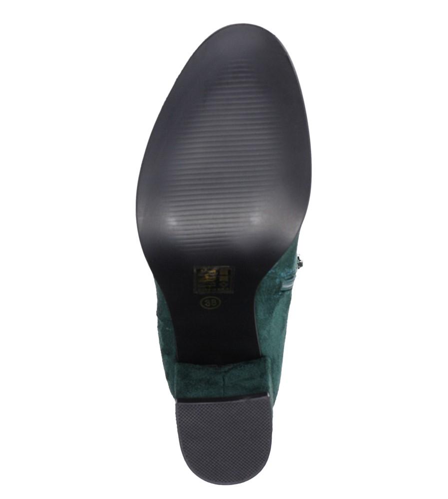 Zielone botki na słupku Casu G19X24/GN wierzch zamsz ekologiczny
