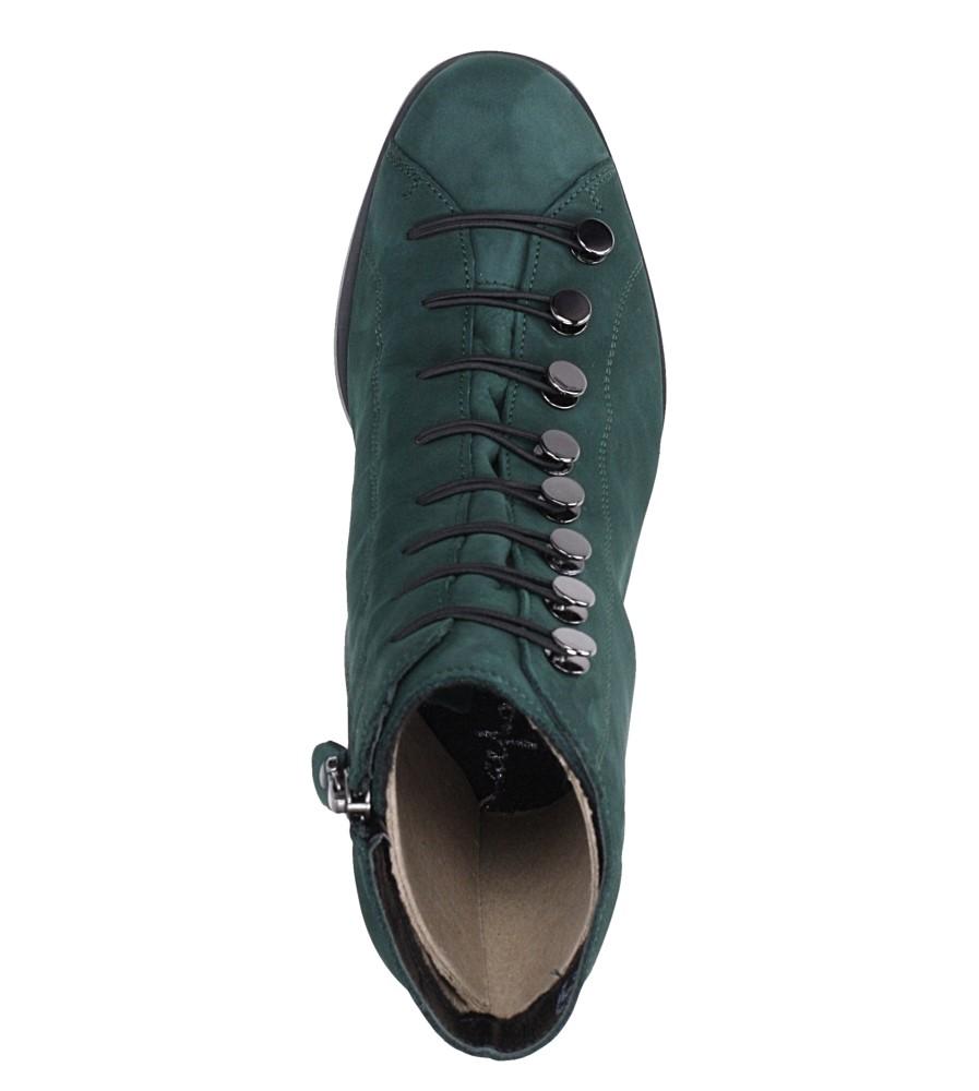 Zielone botki skórzane nubuk na ozdobnym obcasie Maciejka 03247-57/00-3 obwod_w_kostce 24 cm