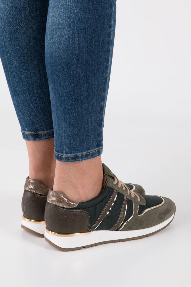 zielone buty sportowe skórzane nessi 17214 Zielone obuwie