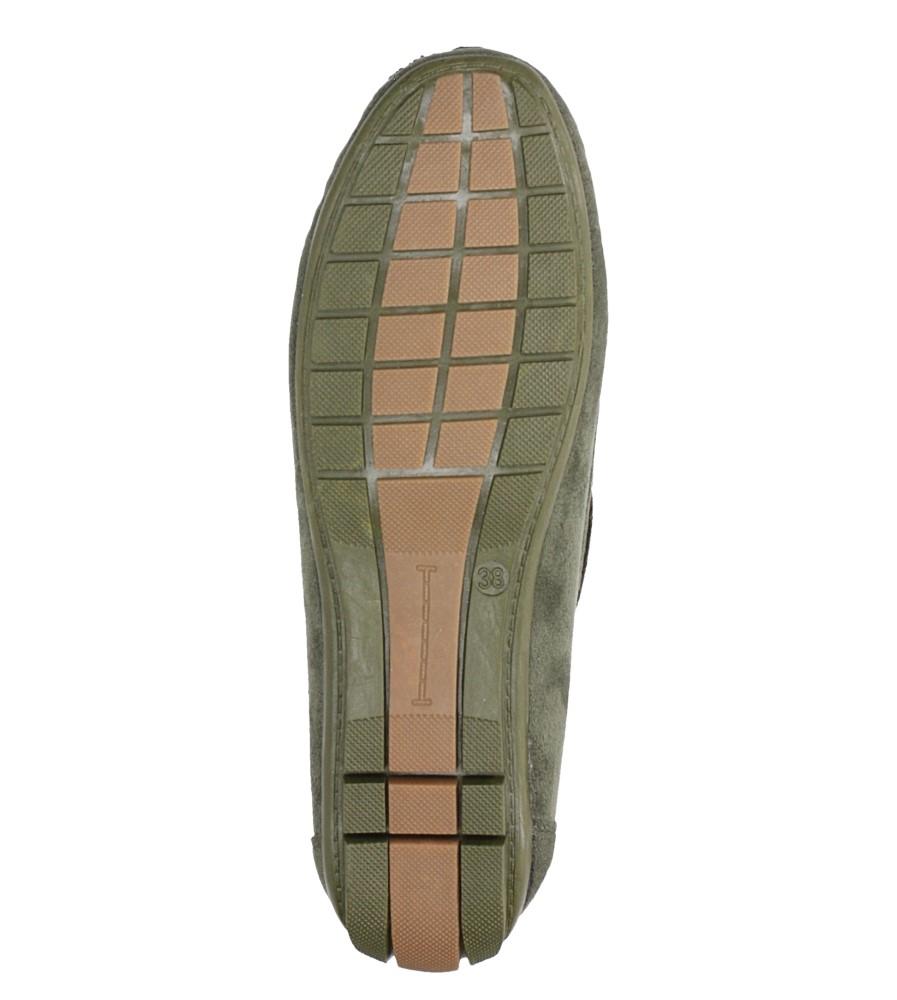 Zielone mokasyny z kokardką Casu T19X1/DG material_obcasa wysokogatunkowe tworzywo