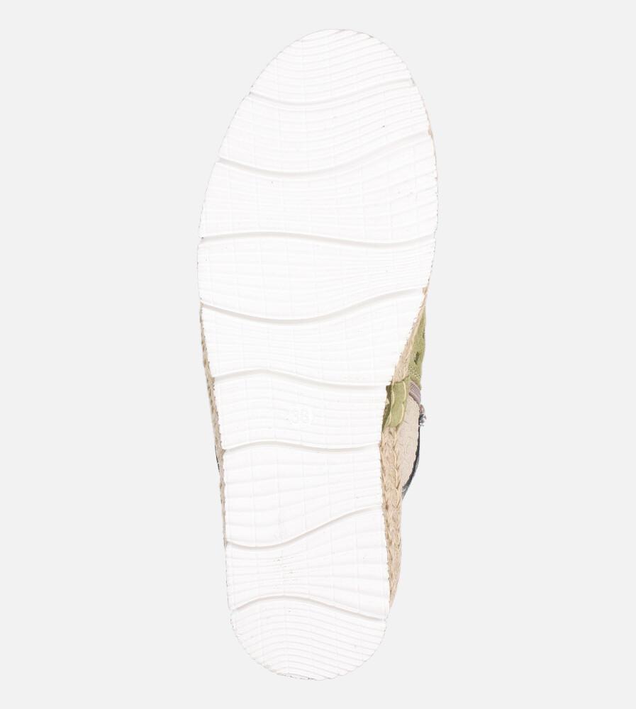 Zielone półbuty espadryle skórzane ażurowe sznurowane Maciejka 03339-09/00-5 wnetrze skóra