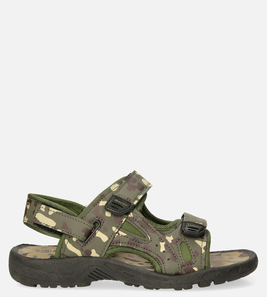 Zielone sandały moro na rzepy Casu 103-A ciemny zielony