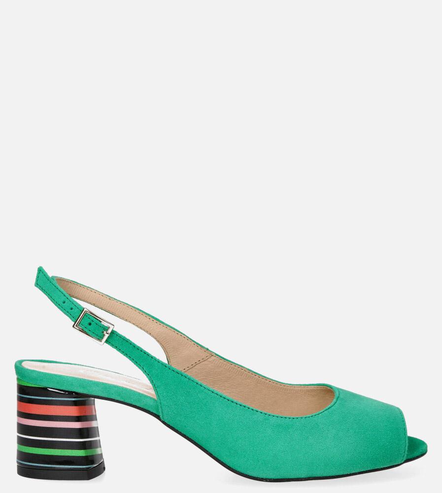 Zielone sandały skórzane na ozdobnym szerokim obcasie Casu DS-346/A zielony