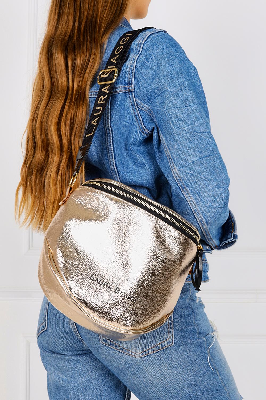 Złota torebka listonoszka błyszcząca Laura Biaggi KB12