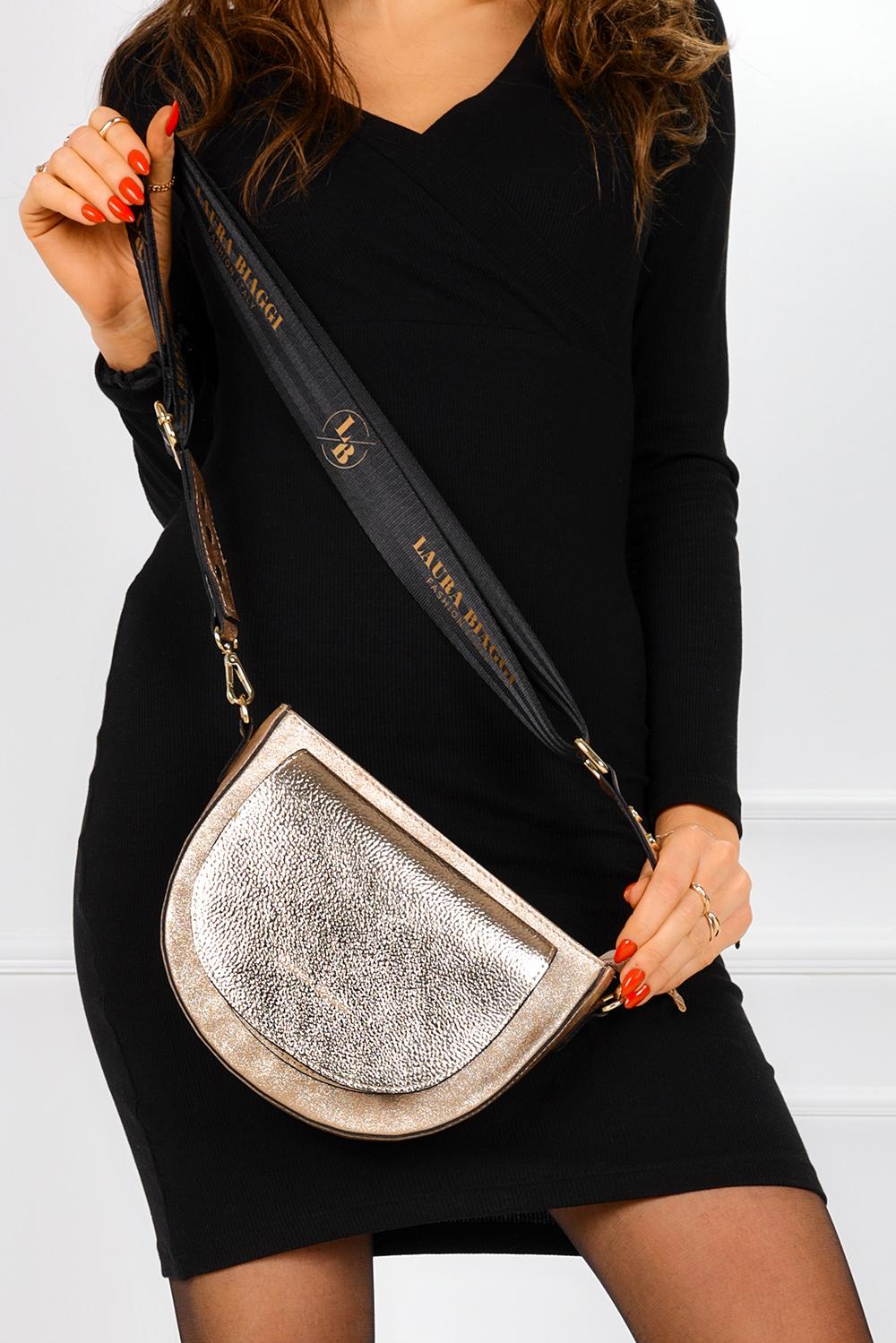 Złota torebka mała błyszcząca z kieszonką z przodu Laura Biaggi JS171