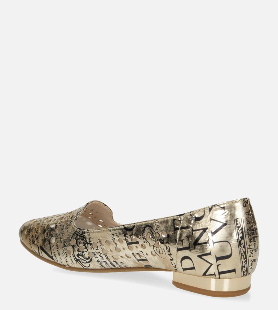 Złote baleriny Jezzi lordsy ażurowe ze skórzaną wkładką ASA151-1 wysokosc_platformy 0.5 cm