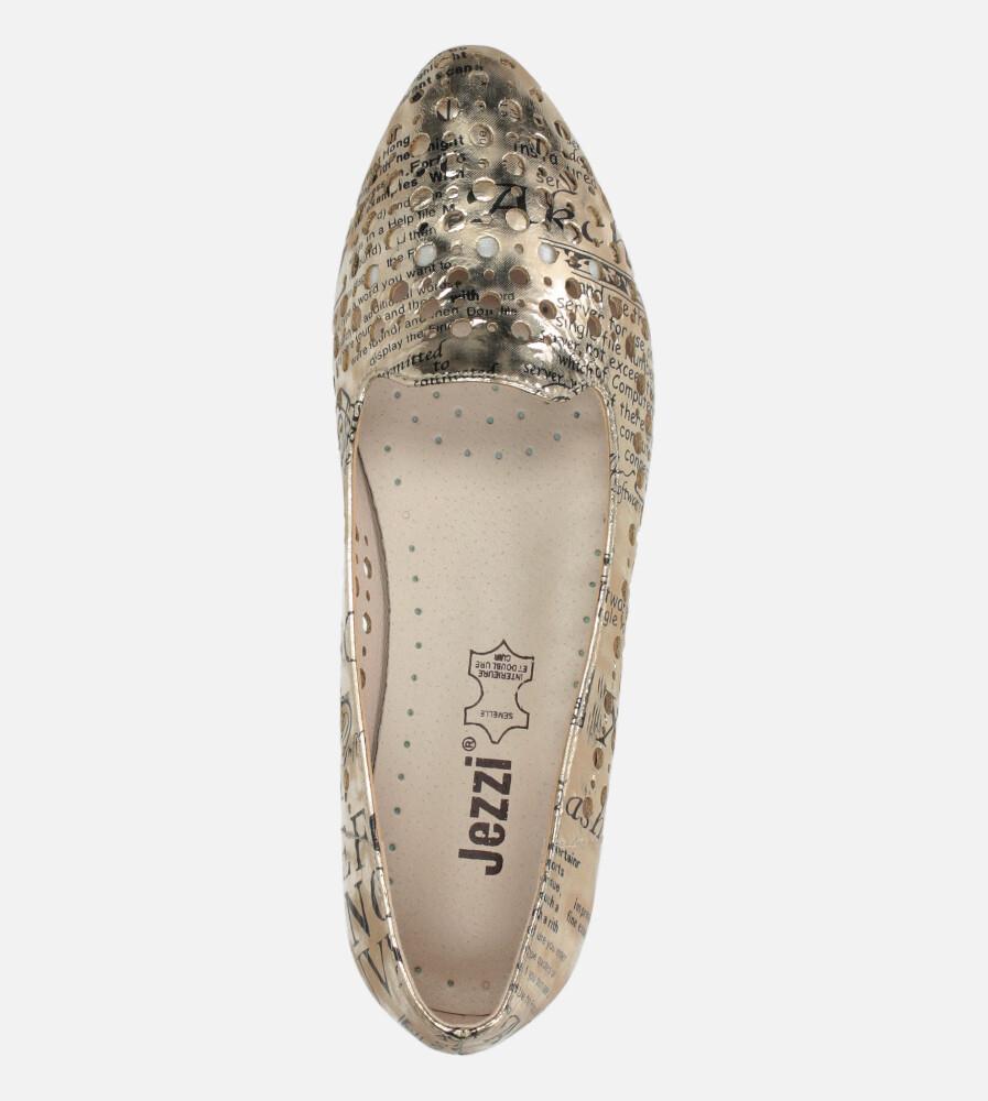 Złote baleriny Jezzi lordsy ażurowe ze skórzaną wkładką ASA151-1 wys_calkowita_buta 8 cm