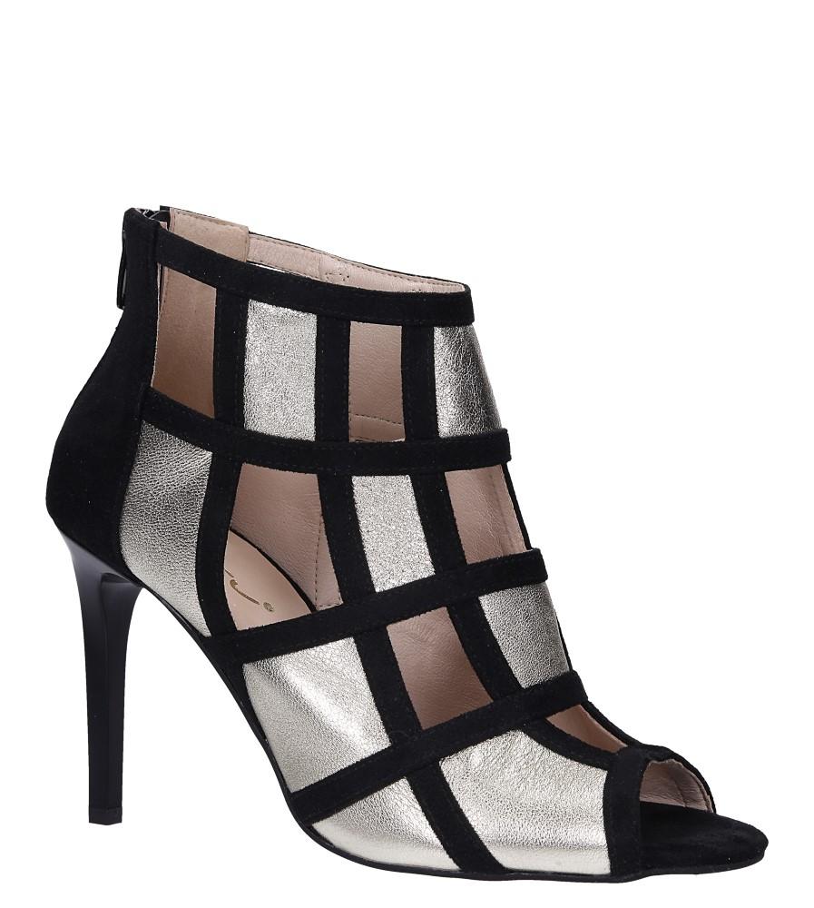 Złote botki sandały skórzane peep toe zabudowane Casu DS-271