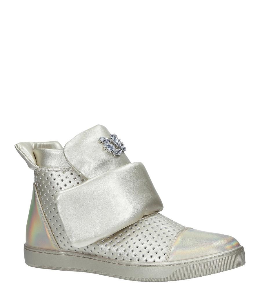 Złote botki sneakersy błyszczące na rzep z kryształkami Casu 7-X7962D złoty