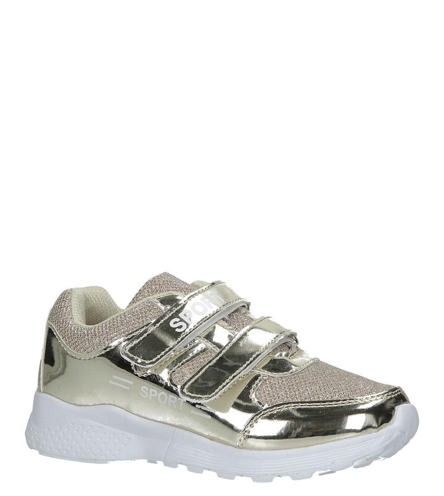 Złote buty sportowe błyszczące na rzepy Casu A4843-22