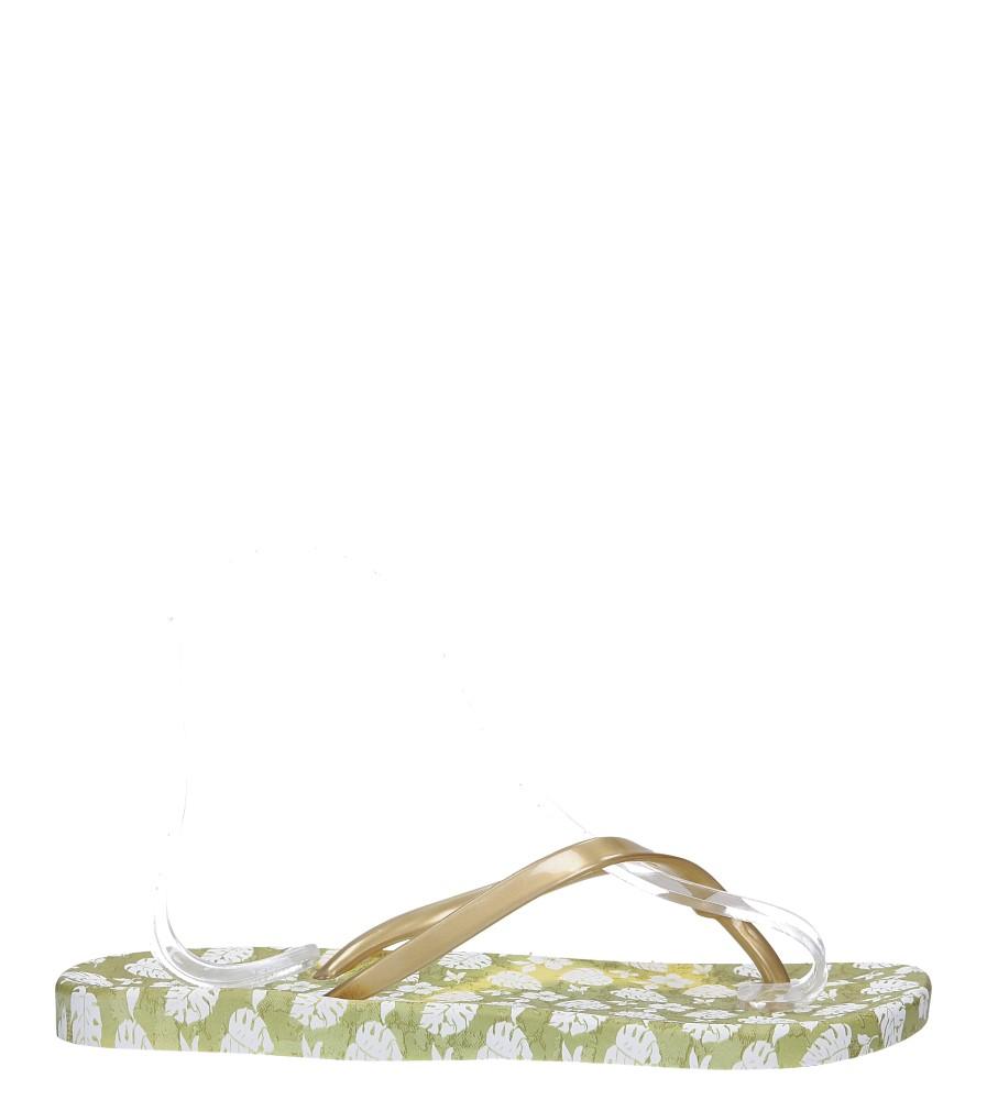 Złote klapki japonki basenowe w kwiatki Casu 2158-166
