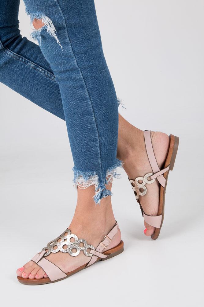 Złote płaskie sandały ażurowe S.Barski 541-97 różowy
