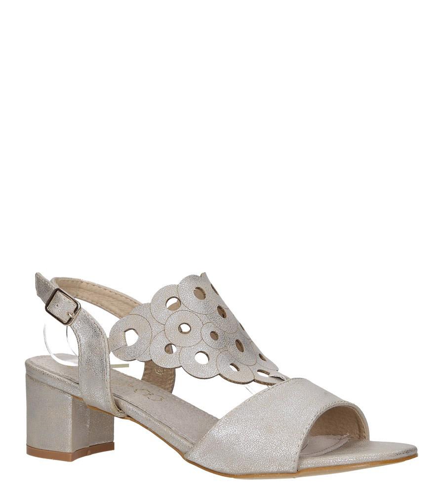 Złote sandały ażurowe błyszczące na niskim obcasie ze skórzaną wkładką Casu K19X3/G