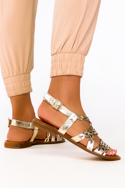 Złote sandały ażurowe płaskie paski na krzyż polska skóra Casu 3022-0
