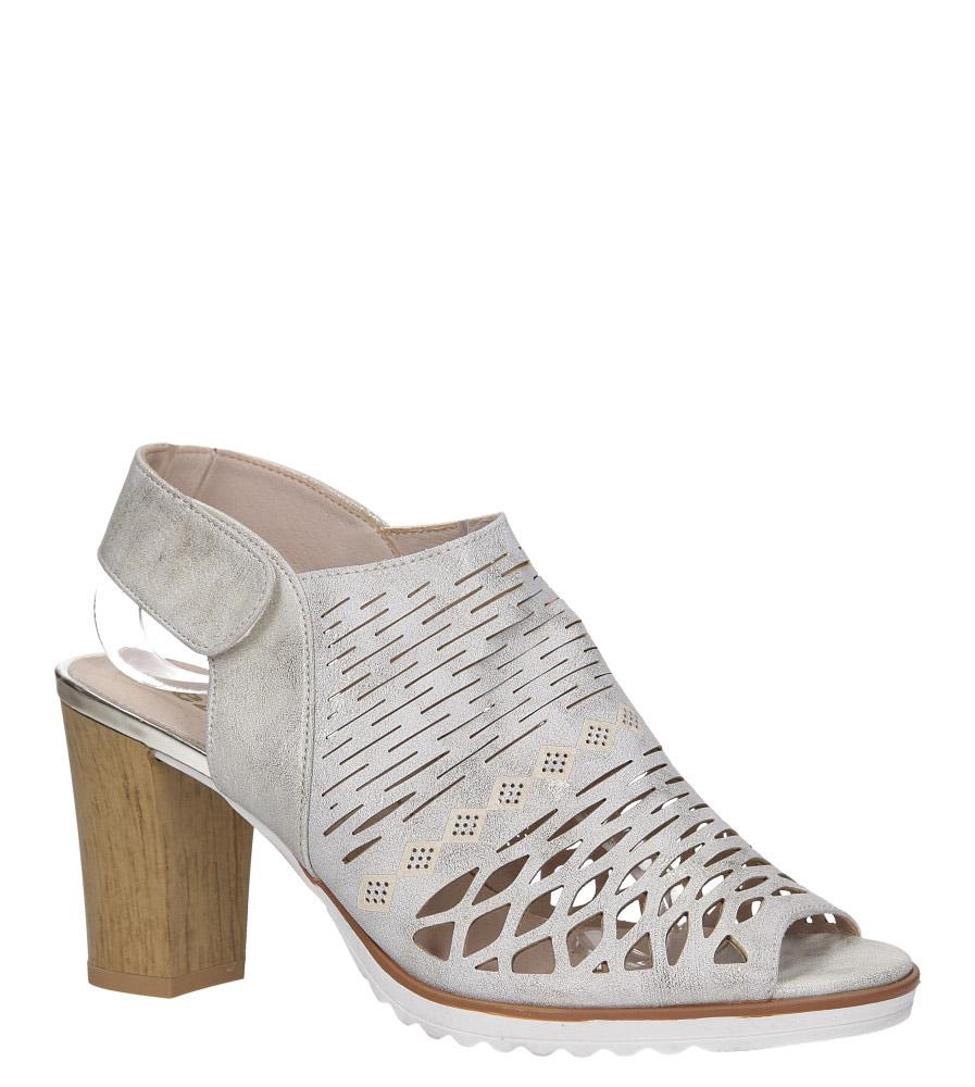 Złote sandały ażurowe zabudowane na słupku ze skórzaną wkładką Jezzi RMR1846-5