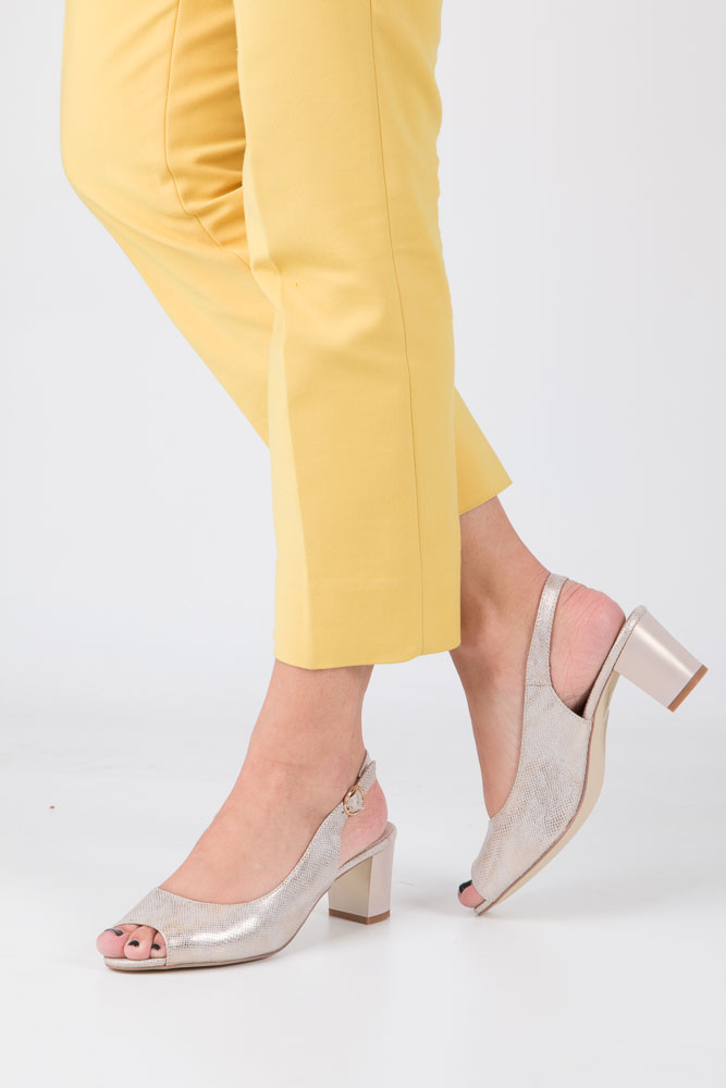 Złote sandały błyszczące na słupku Sergio Leone SK810-23S
