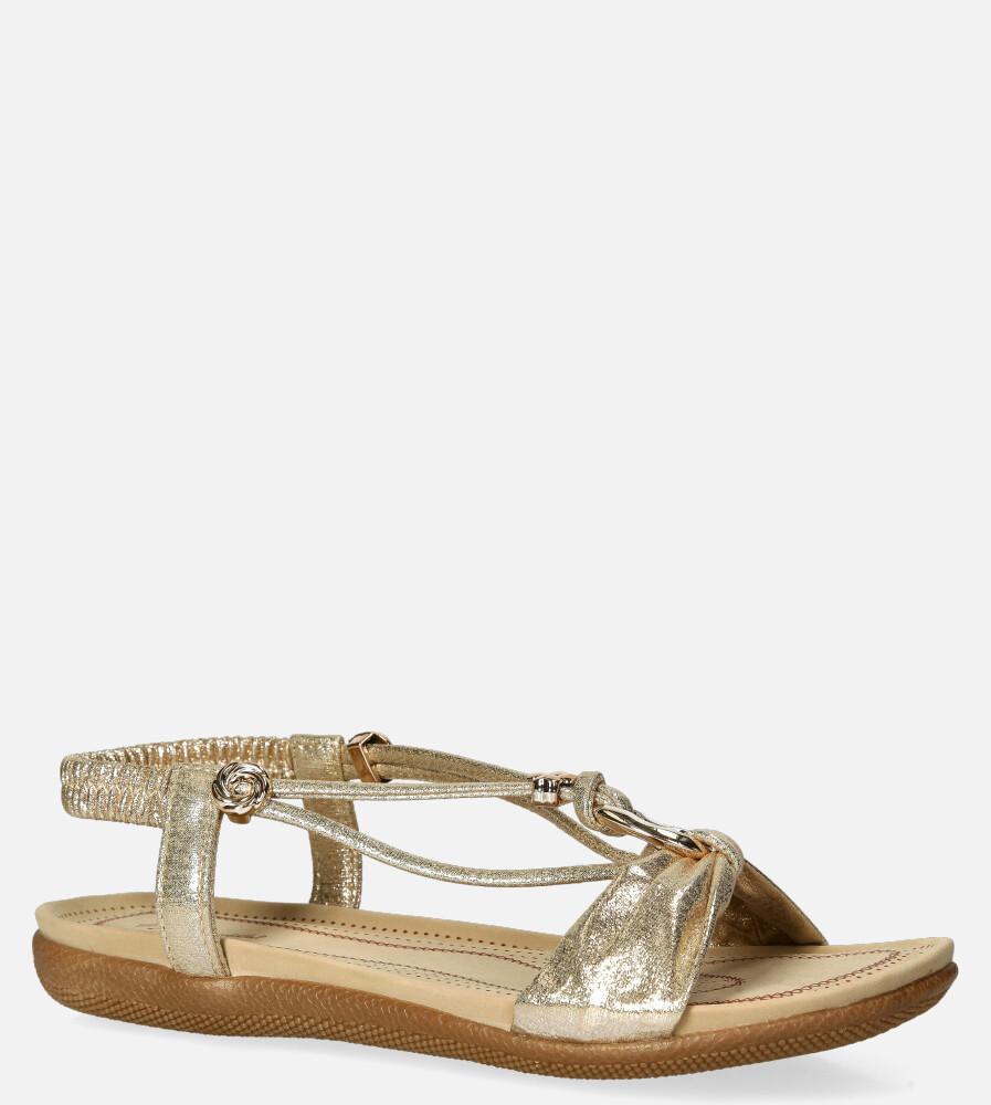 Złote sandały błyszczące z ozdobami Casu 8028 złoty